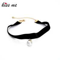KISS ME New Popular Black Chokers Round Simulated Pearls Choker Necklace 2017 Fashion Jewelry Women Bijoux