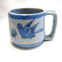 Vintage Signed Tonala Mexican Pottery Blue Bird Large Soup Cup Handled Bowl