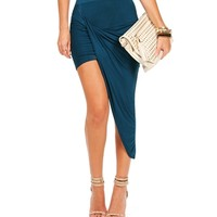 Teal Twist Asymmetrical Skirt