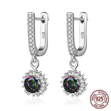 Brighton 2017 Brand 925 Sterling Silver Sunflower Drop Earrings Rainbow Color Zirconia U Shape Earrings for Women Best Friends