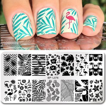 Flamingo Pattern Nail Stamping Template Summer Fruit Leaf Image Rectangle Nail Art Stamp Plate BP-L076