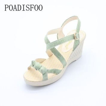 POADISFOO Women's Casual Wedge Platform High Heel Cross-Strapped Sandals - Sizes 5-8 (3 Colors)