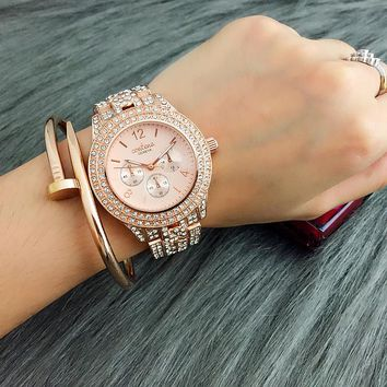2017 New Hot Sale Contena Classic Women Full Diamond Dress Watches Ladies Quartz Watch Gold Woman Watches reloj mujer