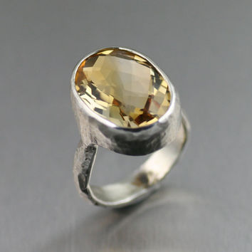 Distressed 12 carat Checkerboard Citrine Cocktail Ring ----- Handmade Jewelry by John S Brana