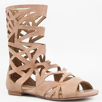 Women's Breckelles Caged Gladiator Sandals Solo-04 Tan