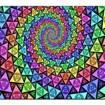 Spiral Psychedelic Rainbows Trippy Colors Triangles Mousepad Mouse Pad Mat