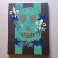 Blue skull acrylic canvas painting for boys room