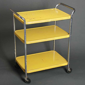 Vintage shabby midcentury yellow metal kitchen cart