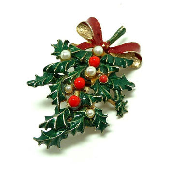 Christmas  Wreath Swag Brooch - Holly & Berries Pin - Designer Signed Roma