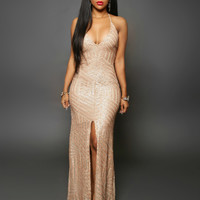 Long Sequin Dress Backless Women Maxi Evening Party Dress Split Vestido De Noche Golden Party Night Club Lady Night Dress