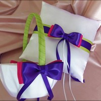Purple Green and Fuchsia Wedding Flower Girl Basket and Ring Pillow