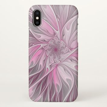 Fractal Pink Flower Dream, Floral Fantasy Pattern iPhone X Case