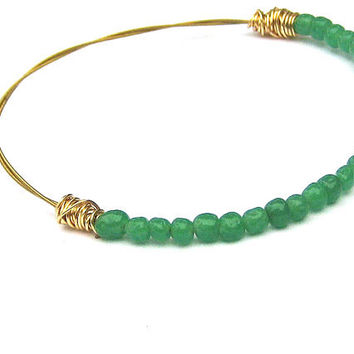 Bangle Bracelet // Green Jade Vintage Beads, Gold Twisted Wire // Reclaimed, Recycled Jewelry // Summer Stacking Bracelet