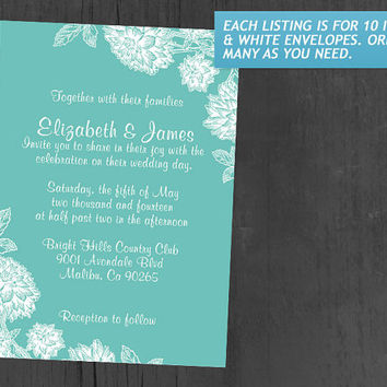 Elegant Aqua Wedding Invitations | Invites | Invitation Cards