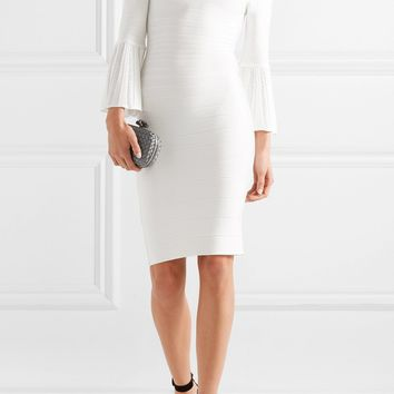 White Off Shoulder Bandage Midi Dress