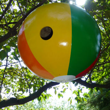 Birdhouse Beach Ball Realistic HUGE Gourd Birdhouse Hand Painted One of A Kind Great Gift for a Patio or Pool