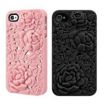 Silicone Rose Embossing Case for iPhone 4/4S