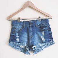 Evie Distressed High Waisted Dark Denim Shorts