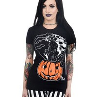 Too Fast Moonlit Cat Baby doll Top Bats Pumpkin