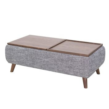 Rydel Lift-Top Rectangular Storage Coffee Table Ash Gray/Walnut