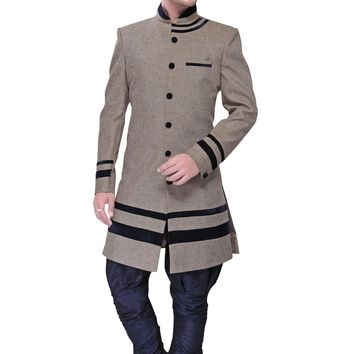 Gray Jute And Linen Silk Indian Wedding Indo-Western Sherwani For Men