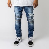 Drip Rip Skinny Denim in Blue – Pink+Dolphin