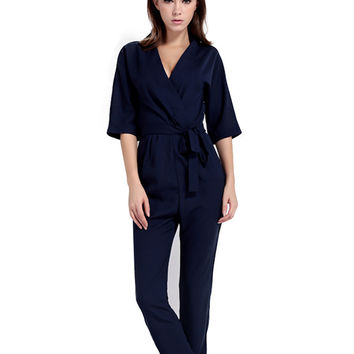 V Neck Belted Jumpsuit in Chiffon