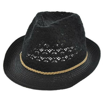 Womens Black Cotton Crochet Lace Fedora Hat Brown Braided Leather Cord Accent UV Protection 50+