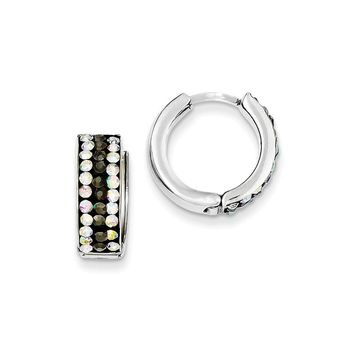 Sterling Silver Grey & Rainbow Preciosa Crystal Hinged Hoop Earrings