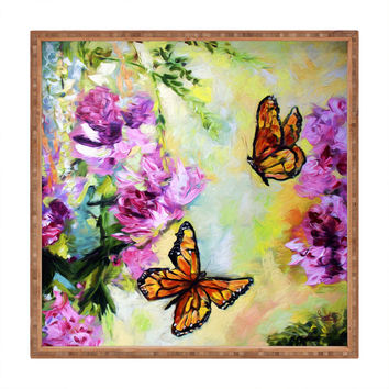 Ginette Fine Art Butterflies and Peonies Square Tray