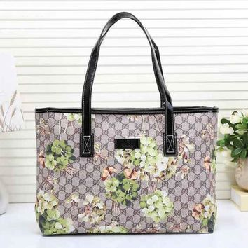 Gucci Women Leather Multicolor Tote Handbag Shoulder Bag
