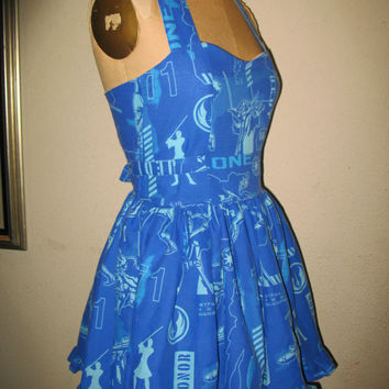 Custom made to order Blue Star Wars SweetHeart Ruffled Mini Dress