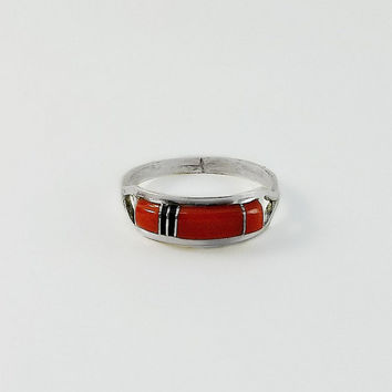Sterling Red Coral Ring - CS Lonjose Ring Size 7 - Red Coral Sterling Ring - Zuni Striped Ring - Charles Lonjose - Red Coral Black Onyx