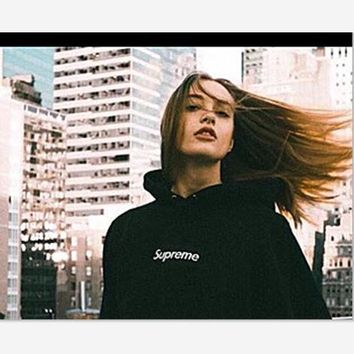 Supreme With thick printed letters long sleeve T-shirt hoodie Black