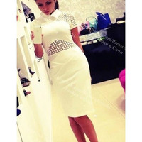 Victoria beckham dress 2014 new black /white lace dresses summer dress for summer wear novelty vestidos casual free shipping