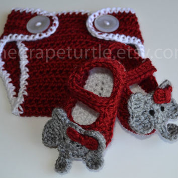 Alabama Crimson Tide Diaper Cover & Bootie Set, Baby Girls and Boys Clothing and Shoes, Photo Prop