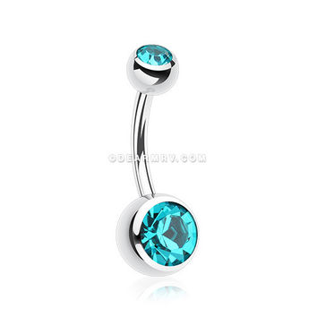 Double Gem Ball Steel Belly Button Ring (Teal)