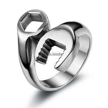 Fashion Cool Biker Mechanic Wrench Stainless Steel Mens Ring Punk Style Rings for men Size 8-13 anel masculino