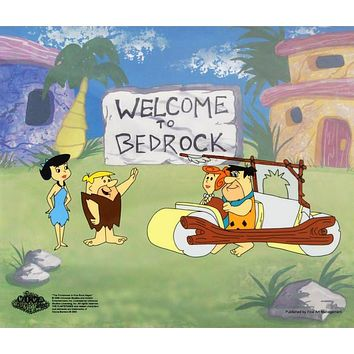 Fred's New Car - Limited Edition Sericel by Hanna-Barbera Animation Art with a Full Color Lithograph Background