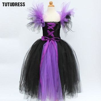 Maleficent Evil Queen Girls Halloween Tutu Dress Children Cosplay Witch Costume Fancy Kids Girl Birthday Party Princess Dress