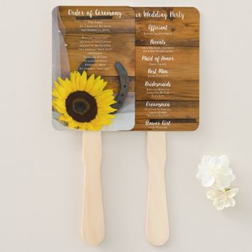 Rustic Sunflower Horseshoe Country Western Wedding Hand Fan