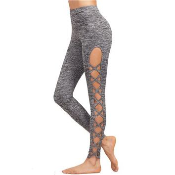 Women's High Rise Lace Up Fit Leggings