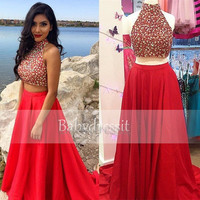 Sexy Red Long Prom Dresses 2017 New Arrive High Neck Off the Shoulder Sleeveless Crystals Satin A Line Two Piece Prom Dress
