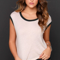 Obey Highway Ringer Blush Pink Crop Tee