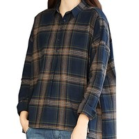 Women's Linen T-Shirt Blouses Long Sleeve Casual Loose Fitting Plus Size