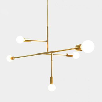 YOKA Modern Metal Pendant Lighting Hanging Lamp Ceiling Chandelier With 5 Lights Gold Finish Fixture Flush Mount
