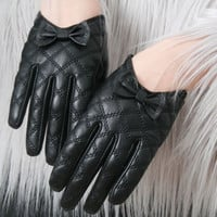 Genuine Lamb Quilted Leather Formal Scoop Bow Tie Knot Party Wrist Lady Glove