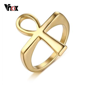 Vnox Vintage Unique Ankh Cross Rings for Men Gold Tone Stainless Steel Male Anel Prayer Erkek Jewelry