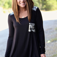Pocket + Shoulder Sequin Tunic {Black}