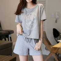 Fashion Casual Letter Pattern Print Round Neck Short Sleeve Set Two-Piece Sportswear